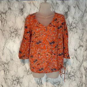 Lucky Brand Floral Leaf Print Orange Blouse Top